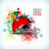 Cricket sports concept with batsman helmet. Royalty Free Stock Photo