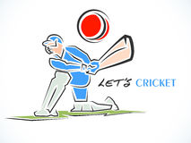 Cricket sports concept with batsman. Royalty Free Stock Photo