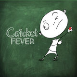 Cricket sports concept with cartoon. Funny cartoon of a boy ready to throw the Cricket ball on chalk borad background for sports concept Stock Photo