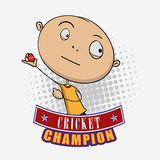 Cricket sports concept with cartoon. Funny cartoon of a boy ready to throw the Cricket ball on grey background Stock Images