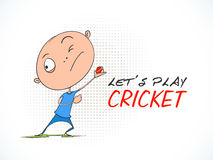 Cricket sports concept with cartoon. Funny cartoon of a boy throwing ball with stylish text Lets Play Cricket Stock Image