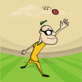Cricket sports concept with cartoon. Royalty Free Stock Photo