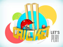 Cricket sports concept with colorful stickers. Stock Photo