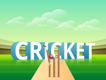 Cricket sports concept with cracket stumps. 3D text Cricket with wicket stumps cracked by red ball on glossy stadium background Stock Photos
