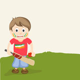 Cricket sports concept with cute little boy. Royalty Free Stock Image