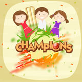 Cricket sports concept with cute little girls. Cute little girls holding hands together with red ball, wicket stumps and text Champions  for Cricket on stylish Royalty Free Stock Photo