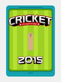 Cricket sports concept with iPad. Royalty Free Stock Photos