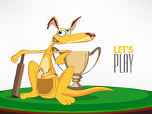Cricket sports concept with kangaroo. Royalty Free Stock Images