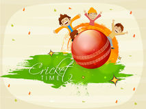 Cricket sports concept with kids and ball. Stock Photos