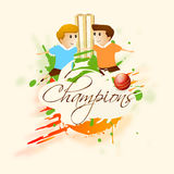 Cricket sports concept with kids, ball and stumps. Royalty Free Stock Images