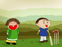 Cricket sports concept with little kids. Stock Photo