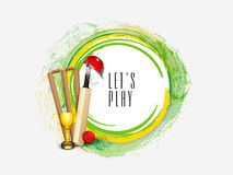 Cricket sports concept with match kit. Royalty Free Stock Image
