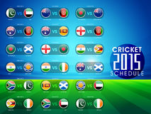 Cricket sports concept with match schedule. Stock Photo