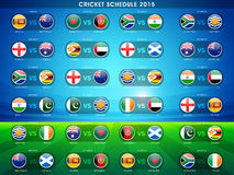 Cricket sports concept with match schedule. Royalty Free Stock Image