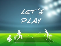 Cricket sports concept with players. Cricket sports concept with players in playing action on stadium lights background stock illustration