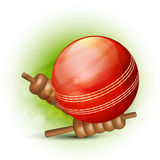 Cricket sports concept with red ball and bails. Stock Images