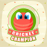 Cricket sports concept with red ball. Red ball with eyes and text Cricket Champion on decorated background Stock Image