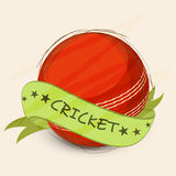 Cricket sports concept with red ball and ribbon. Stock Photography