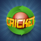 Cricket sports concept with red ball and text. Glossy golden text Cricket with red ball covered by green 3D arrows on blue rays background Royalty Free Stock Images