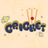 Cricket sports concept with red ball and wicket. Kiddish text Cricket with red ball hitting wicket stumps on clouds decorated grungy background Royalty Free Stock Image