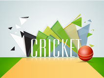 Cricket sports concept with red shiny ball. Shiny red ball on glossy stadium with text Cricket on abstract background Stock Photography