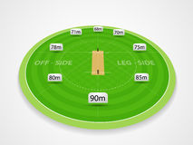 Cricket sports concept with stadium. View of Cricket stadium measurements on grey background Stock Photography