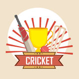 Cricket sports concept with trophy and match kit. Royalty Free Stock Images