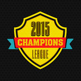 Cricket sports concept with winning shield. Winning shield with text 2015 Champions League on black background for Cricket sports concept Royalty Free Stock Photos