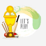 Cricket sports concept with winning trophy and match kit. Royalty Free Stock Photos