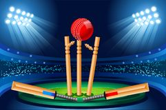 Cricket stadium Hitting Sport Ball vector wallpaper. Cricket stadium background. Hitting recreation equipment Sport Ball. Vector design Stock Images