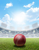 Cricket Stadium And Ball Royalty Free Stock Photos