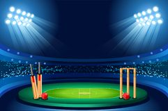 Cricket stadium Hitting vector background. Cricket stadium background. Hitting recreation equipment Sport ball. Vector design Stock Photography