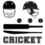 Cricket symbols. Flat style Royalty Free Stock Images