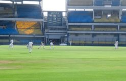 Cricket Test Match, Field Positions, Batsman Hitting Ball. Scene of a cricket match played on green outdoor field. Batsman playing shot in a Ranji Trophy stock photo