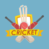 Cricket text with cricket match object. Royalty Free Stock Photos