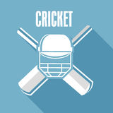 Cricket text with cricket objects. Royalty Free Stock Images