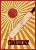 Cricket typographical vintage grunge style poster. Retro  illustration. Royalty Free Stock Images