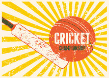 Cricket typographical vintage grunge style poster. Retro vector illustration. Stock Photography