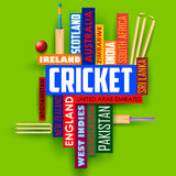 Cricket typography background Royalty Free Stock Image