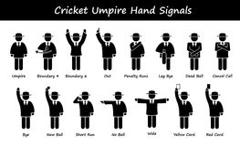 Cricket Umpire Referee Hand Signals Cliparts. A set of stickman representing the sports of cricket umpire hand signals and gestures vector illustration