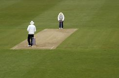 Cricket umpires. Officials prepare for start of English county cricket match Stock Image