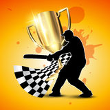 Cricket vector background. Cricket background with trophy and batsman hitting ball Stock Photo
