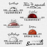 Cricket, volleyball, football, basketball, squash Stock Photos