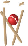 Cricket wickets ball. A cricket ball knocking over wickets stock illustration