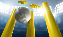 Cricket Wickets And Ball In A Stadium. A white leather cricket ball hitting yellow wooden cricket wickets on a floodlit stadium background at night stock illustration