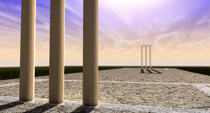 Cricket Wickets On Pitch Horizon Both Perspective Royalty Free Stock Image