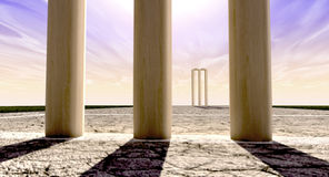 Cricket Wickets On Pitch Horizon Both Straight Stock Images