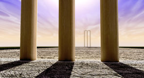 Cricket Wickets On Pitch Horizon Both Straight Stock Photos