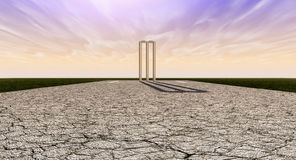 Cricket Wickets On Pitch Horizon Royalty Free Stock Photo