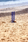 Cricket wickets in the sand Royalty Free Stock Images